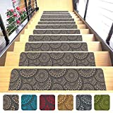 "Shape28 Stair Treads Ultra-Thin with Non Slip Rubber Backing 9""x26"", Cappuccino 7 Pieces"