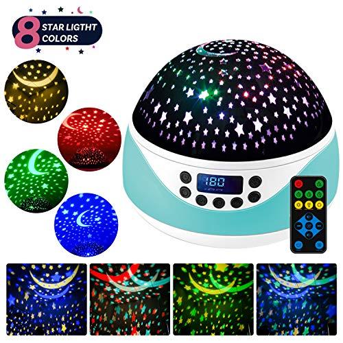 LED Sternenhimmel Projektor Lampe mit Fernbedienung,Shayson Baby Musik Nachtlicht mit Timer,360°Drehung,4 LED-Lampen 8 RGB Lichter & Warmweißlicht für Kinder-Grün