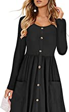 FAT SHEEP Spring England Style Women Girdling Long Sleeve Mid-Caflf Solid Dress Cual Office O-Neck A-Line Dress