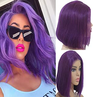 Myfashionhair Blonde Human Hair Wigs Silky Straight 12 inch 180% Density Cheap Human Hair Lace Front Wigs with 13x4 Swiss Lace, Pre Plucked Beyonce Wigs (Purple)