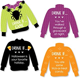 Big Dot of Happiness Drink If Game - Halloween Ugly Sweater - Halloween Party Game - 24 Count