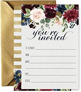 Navy Floral Invitations with Gold Envelopes (Set of 15) Any Occasion