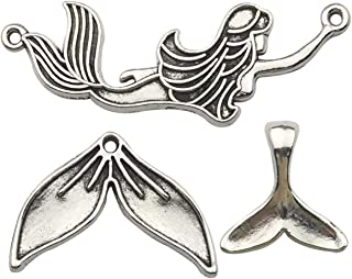 45PCS Mermaid Tail Charms Collection, Antique Silver Tone, 3 Style x15, Metal Pendant Supplies Findings for Jewelry Making (HM165)