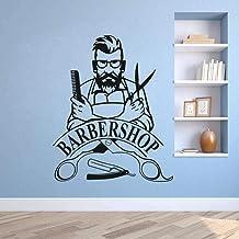 Pegatinas De Pared Barbero Hipster Vinilo Pegatinas De Pared Barbería Cartel Extraíble Para Ventana Logotipo De Barbería C...