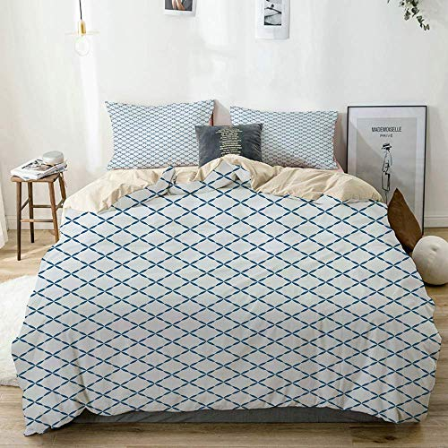 Jojun Duvet Cover Set Beige,Trellis Lattice Like Nostalgic Print,Decorative 3 Piece Bedding Set with 2 Pillow Shams Easy Care Anti-Allergic Soft Smooth