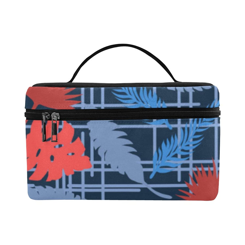 ルネッサンス名誉スカイHAYO メイクボックス 植物 青いパームの葉 コスメ収納 化粧品収納ケース 大容量 収納ボックス 化粧品入れ 化粧バッグ 旅行用 メイクブラシバッグ 化粧箱 持ち運び便利 プロ用