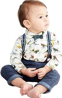 Waymine Toddler Boys Cartoon Print Romper+Vest+Pants+Bowtie Gentleman Formal 4pcs Set