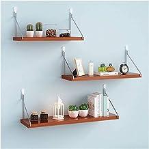 Drijvende plank Ponsvrije boekenplank muurbevestiging, houten opbergrek voor fotolijst Boekplantpot (rood)
