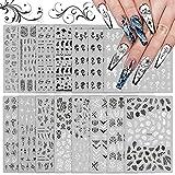 EBANKU 16 fogli Adesivi per unghie in bianco e nero assortiti Decalcomanie, Fiore Adesivi per nail art 3D Consigli per unghie autoadesivi Decorazioni