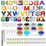 Molde de Resina Epoxi con Número de Letras, 86PCS Moldes Silicona Resina Epoxi 3D, Kit de Molde de...