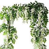 Lanyifang 2pcs Fleurs Artificielles en Soie Guirlande de Glycine Fleur Suspendue Décoration pour Jardin Maison Mur Cérémonie Mariage Arche Floral (Blanc)