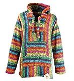 Funny Guy Mugs Premium Baja Hoodie Sweatshirt Pullover Jerga Poncho (Fireworks, Large)