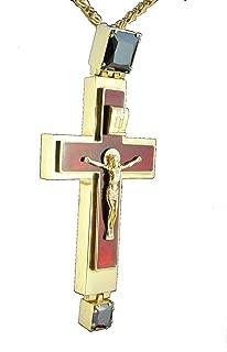 Workshop Archangel Orthodox Cross Gold Plated Pendant Zircon Enamel Clergy Bishop Vestment Cassock
