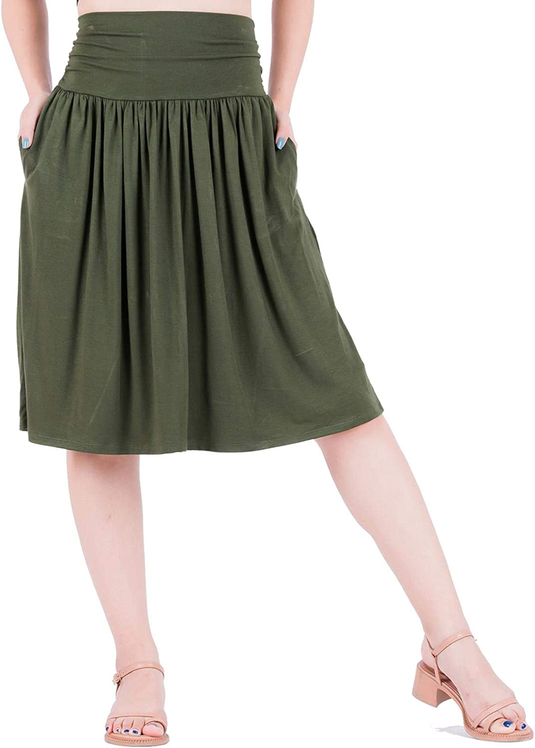 LOFBAZ Skirt with Pockets for Women Midi Below The Knee Casual Ruched Flowy