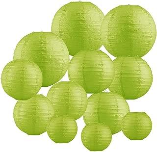 Renohef Green Round Paper Lanterns,Metal Framed Hanging Lanterns 12pcs,6inch,8inch,10inch,12inch 4 Sizes,Birthday Wedding Party Supplies Favors Hanging Decoration