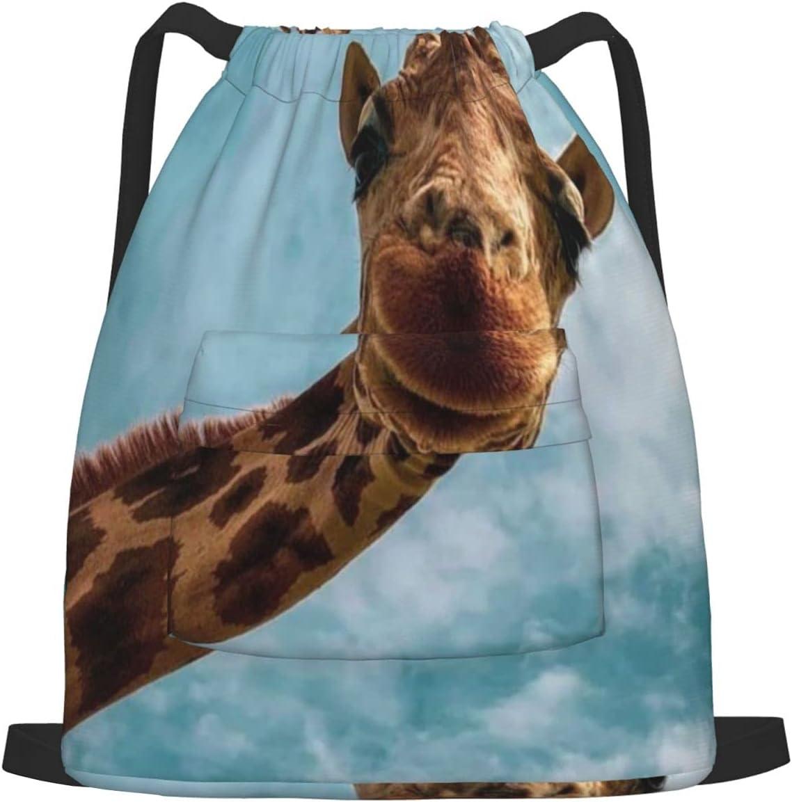35% OFF Cute Giraffe New Orleans Mall Drawstring Sports Backpack Bag For Gym Unisex Yoga