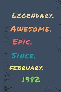 AWSOME Legendary Epic SINCE FEBRUARY1982: Happy Birthday Unicorn HT Years Old Gift Ideas for girl, Boy, friends, Cute Keep...