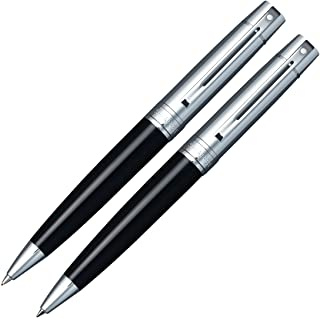 Sheaffer Gift Collection 2 (300) Ball Point Pen/Pencil Set, Satin Chrome Cap, Glossy Black Barrel with Chrome Plate Trim, 0.7mm Blue Refill (SH/9314-9)