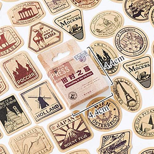 Zxdcd 45 Unids/Caja Pegatinas Papelería Vintage Sello Sello Sellado Pegatinas De Viaje Decoraciones Scrapbooking Diario Álbumes Bullet Journal