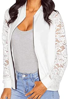 RkBaoye Women Long Sleeve Lace Zip-up Over Sized Splicing Outwear Coat
