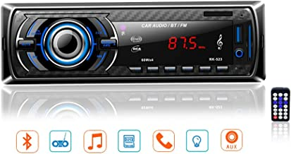 LSLYA Receptor de audio estéreo para automóvil Radio FM Reproductor de MP3 / WMA Pantalla TFT Radio FM Coche con Bluetooth USB / SD / AUX / MMC Único Din en el tablero con control remoto