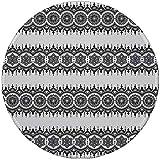 Alfombrilla de ratón Redonda de Goma, Henna, Blanco y Negro Diseño de Mandala Elementos Florales Patrón de Tatuaje Monocromo del Sur de Asia, Blanco y Negro