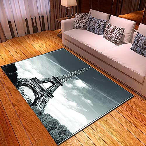 rzskdjgv Alfombra Paris Tower City Architecture Impresión 3D Sala De Estar Alfombra Alfombra De Piso Alfombra De Dormitorio 140X200Cm