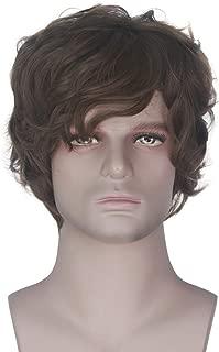 Miss U Hair Men Short Brown Wavy Curl Adult Boy Anime Costume Halloween Wig Party