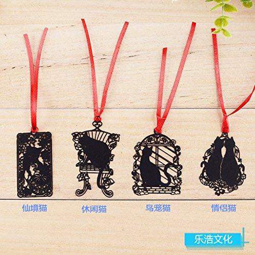 Geschenken UK® Leuke Zwarte Kitten Kat Metalen Bladwijzers Boek Markers Gift voor Lezers en Dieren Liefhebbers Kat spelen met bal