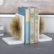 Trendsetter Gold Starburst Decorative Marble Metal Bookends and Shelves for Home/Office Decor/Gifting