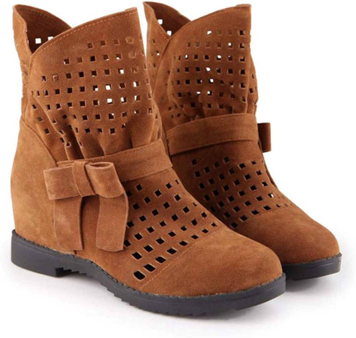 T-JULY Autumn Spring Women Platform Hidden Ankle Boots Slip on Botas Feminino women Cut Out Solid Butterfly-Knot Boots