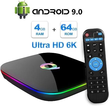 Android TV Box, 2019 TV Box Android 9.0 con 4GB RAM 64GB ROM H6 Procesador Quad Core Cortex-A53 Smart TV Box, soporta 6K Resolución 3D 2.4GHz WiFi 10/100M Ethernet USB 3.0 Reproductor Multimedia