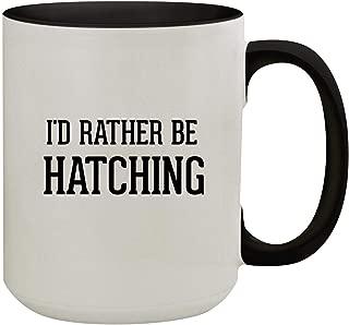 I'd Rather Be HATCHING - 15oz Colored Inner & Handle Ceramic Coffee Mug, Black