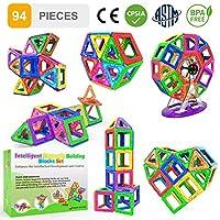 【Set Blocchetti Magnetici 94 Pezzi】Intelligent Magnetic Building Blocks comprende 30 quadrati, 26 lettere dell'alfabeto, 16 numeri e simboli, 12 triangoli, 4 esagoni, 2 viti, 1 blocco base, 1 blocco di collegamento, 1 blocco rack. Tutti con diversi c...