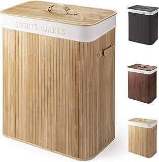 Cesto para la Colada de Bambú Cesto para Ropa Bambú 100 L Cestos para la Colada con Asas Cesta para Ropa Pelegable Saco extraíble para la Ropa Sucia con 2 Compartimentos Separados (Color madera)