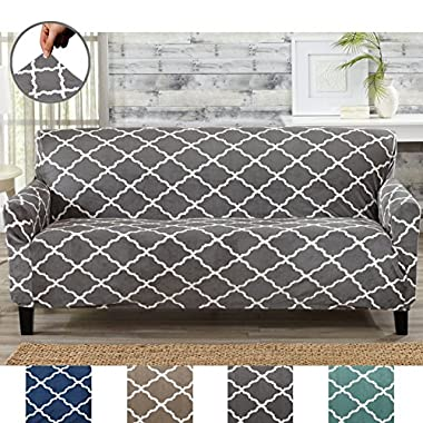 Great Bay Home Modern Velvet Plush Strapless Slipcover. Form Fit Stretch, Stylish Furniture Shield/Protector. Magnolia Collection Strapless Slipcover by Brand. (Sofa, Grey)