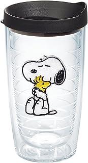 Tervis Peanuts - Felt Tumbler with Emblem and Black Lid 16oz, Clear