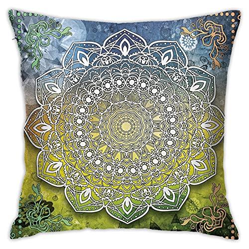 Federa copricuscino per cuscino con motivo mandala etnico e cultura Zen Chakra, stile boho, con stampa quadrata, per divano, sedia, auto, 45,7 x 45,7 cm
