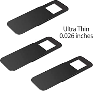 T10 Laptop Camera Cover (6 Pack), 0.03 inches Super Slim Slide Webcam Cover for Computer, iMac, MacBook Pro, Cell Phone, Web Cam Security Cover Protect Your Privacy, Camera Blocker - Black (Renewed)