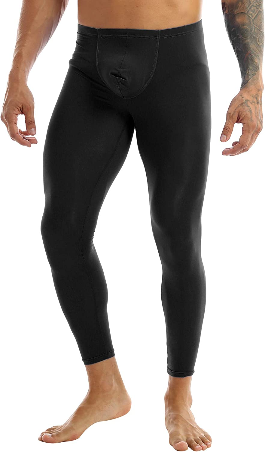 zdhoor Men's Ice Silk Bulge Pouch Underwear Johns Legging Tights Thermal Baselayer Long Pants Trousers