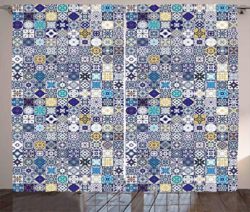 ABAKUHAUS marokkanisch Rustikaler Gardine, Mediterrane Weinlese, Schlafzimmer Kräuselband Vorhang mit Schlaufen und Haken, 280 x 260 cm, Mehrfarbig