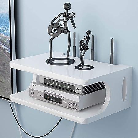 Guoz Montado en la Pared WiFi Router Shelf/TV Set-Top Caja de Almacenamiento Teléfono Impermeable Rack Colgante de Pared Router Caja Decorativa Estante Flotante