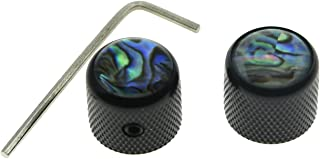 Dopro 2pcs Black Tele Telecaster Abalone Top Guitar Dome Knobs Bass Knobs with Set Screw and Wrench