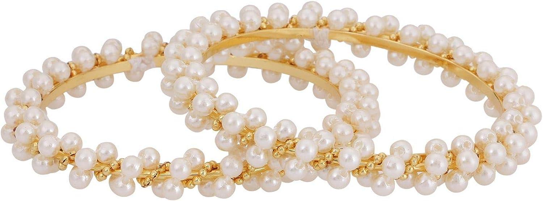 Efulgenz Indian Style Bollywood Gold Plated Faux Pearl Stone Wedding Bridal Bracelet Bangle Set Jewelry