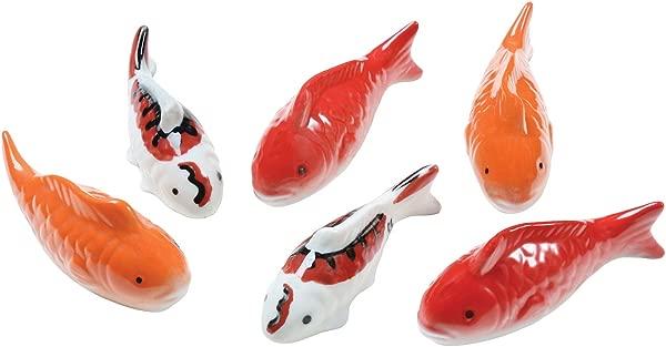 ART ARTIFACT Ceramic Floating Koi Fish Set Of 6 Multi Colored Goldfish