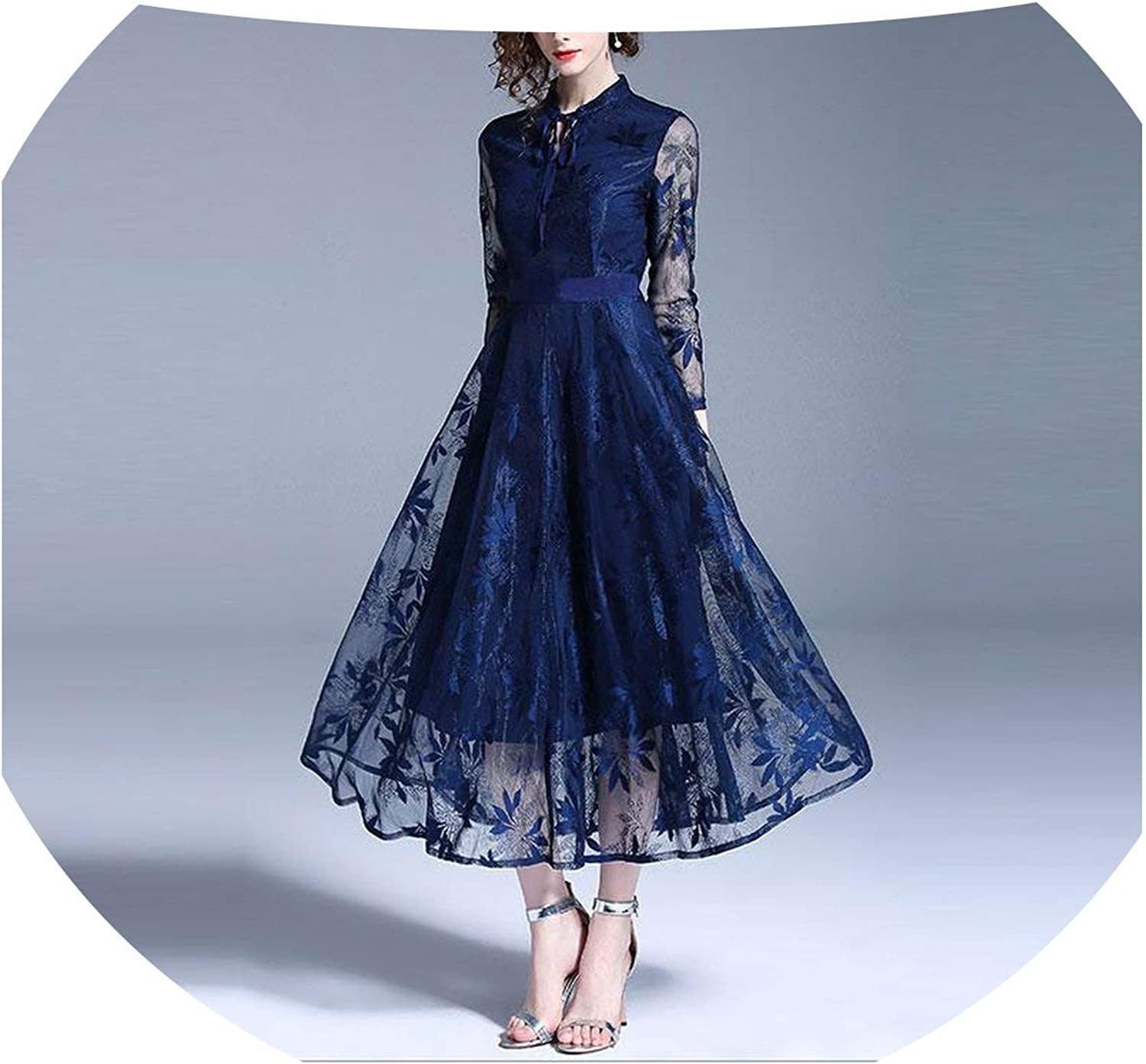 MayRainbowstore Luxury Lace Evening Party Dress Autumn Fashion England Style Big Swing Aline Women Long Dresses