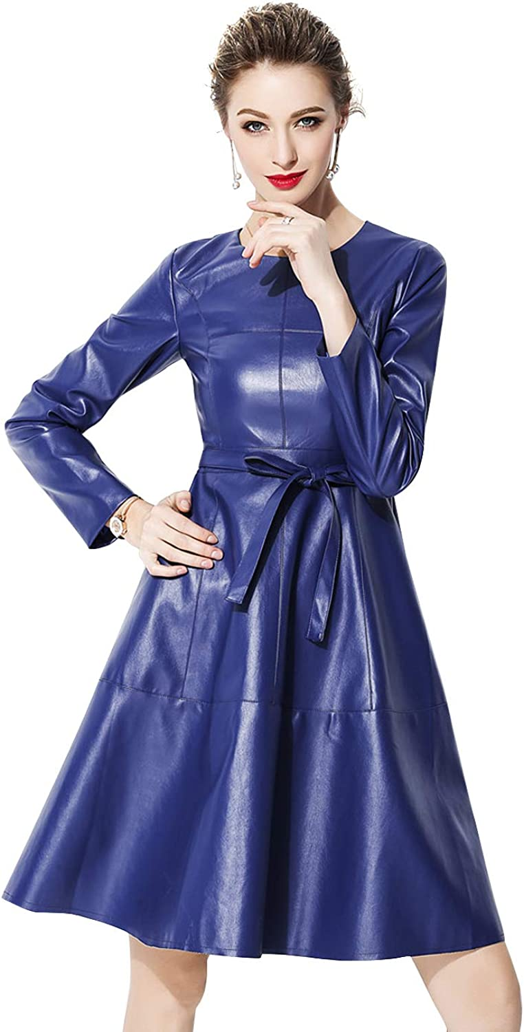 LAI MENG FIVE CATS Women's Faux Leather Long Sleeve Aline Cocktail Party Dress with Belted
