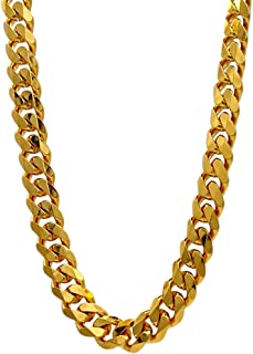 TUOKAY 18K Gold Flat Chain, 90s Fashion Hip Hop Chain for Women and Men, Dainty & Sparkling Faux Gold Chain Necklace. 24