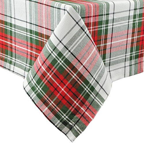 DII Christmas Plaid Collection Tablecloth, 52x52, Red & Green