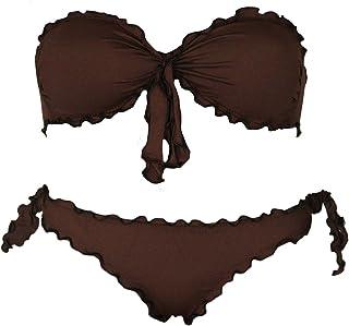 Bikinicolors Bikini Donna a Fascia Arricciato con Slip o Brasiliana Made in Italy